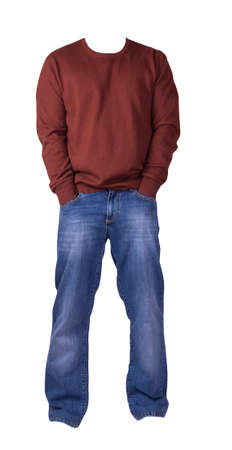 men's dark red sweater and blue jeans isolated on white background.casual clothing 免版税图像