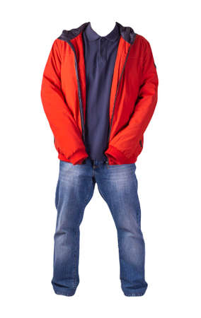 red jacket, dark blue shirt and blue jeans isolated on white background. casual fashion clothes