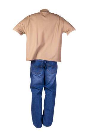 men's light brown t-shirt with button-down collars and blue jeans isolated on white background.casual clothing
