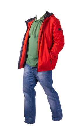red jacket with zipper, green shirt and blue jeans isolated on white background. casual fashion clothes Stock Photo