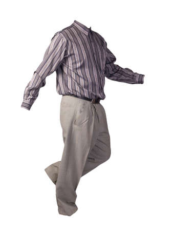 men's gray striped shirt and light gray pants isolated on white background. fashion clothes Stock Photo