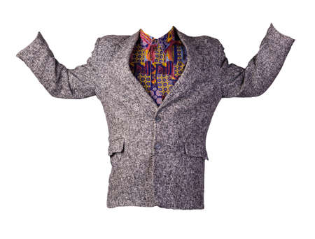 men gray jacket with buttons isolated on a white background. Casual style
