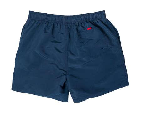 men's dark blue shorts isolated on white background .sport pants top view 版權商用圖片
