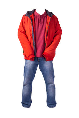 red jacket with zipper, dark red shirt and blue jeans isolated on white background. casual fashion clothes