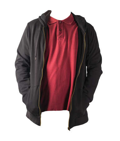 black sweatshirt with iron zipper hoodie and burgundy polo t-shirt isolated on white background.sporty style