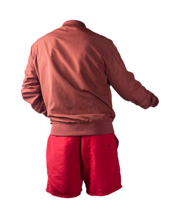mens red bomber jacket and red sports shorts isolated on white background. fashionable casual wear