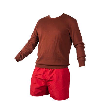 knitted burgundy sweater and red shorts isolated on white background. fashionable clothes for every day