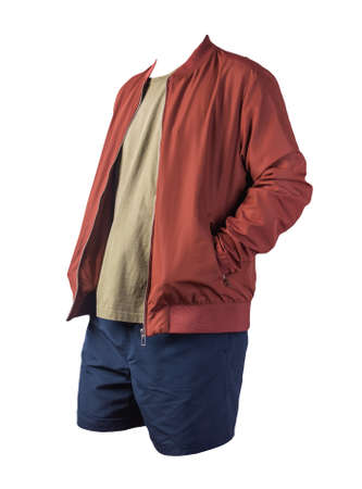 mens red bomber jacket, olive t-shirt and dark blue sports shorts isolated on white background. fashionable casual wear 版權商用圖片