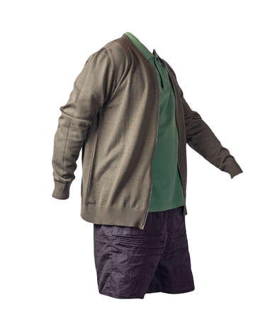 men's dark green bomber jacket, dark green polo shirt and black sports shorts isolated on white background. fashionable casual wear