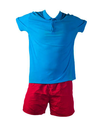men's sports red shorts and blue polo shirt with a button-down collar isolated on a white background.comfortable clothing for sports