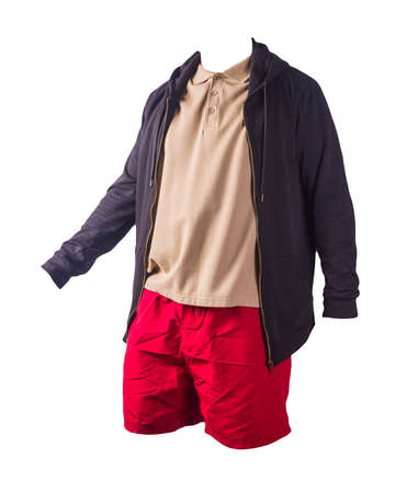 black sweatshirt with iron zipper hoodie, beige polo shirt and red sports shorts isolated on white background. casual sportswear