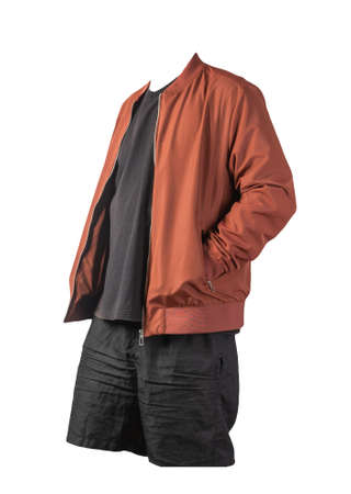 mens red bomber jacket, black t-shirt and black sports shorts isolated on white background. fashionable casual wear 版權商用圖片