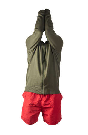 mens hakki knitted bomber jacket and red sports shorts isolated on white background. fashionable casual wear