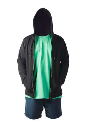 blakc sweatshirt with iron zipper hoodie, retro heather green t-shirt and dark blue sports shorts isolated on white background. casual sportswear 版權商用圖片