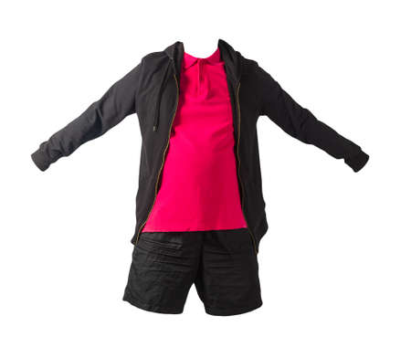 black sweatshirt with iron zipper hoodie, red polo t-shirt and black sports shorts isolated on white background. casual sportswear