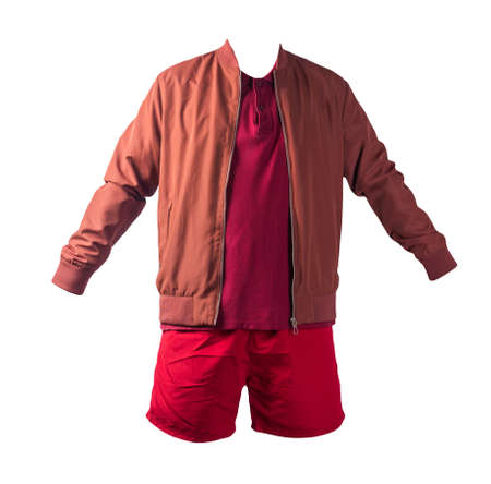 men's dark red bomber jacket, burgundy polo shirt and black sports shorts isolated on white background. fashionable casual wear