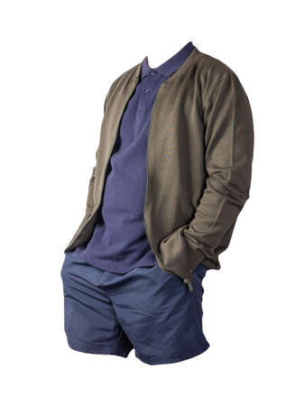 men's dark green bomber jacket, dark blue blue polo shirt and dark blue sports shorts isolated on white background. fashionable casual wear