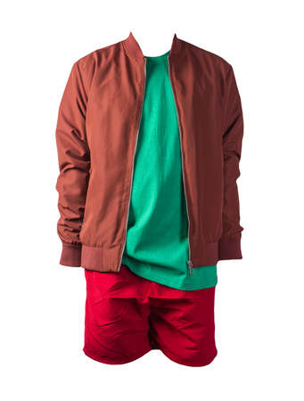 mens dark red bomber jacket, retro heather green t-shirt and red sports shorts isolated on white background. fashionable casual wear
