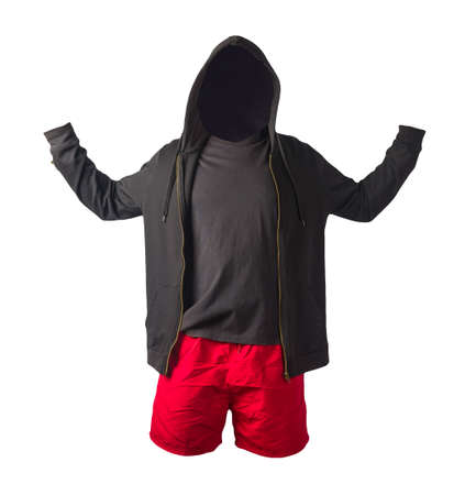 black sweatshirt with iron zipper hoodie, black t-shirt and red sports shorts isolated on white background. casual sportswear 版權商用圖片