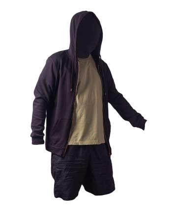 black sweatshirt with iron zipper hoodie, light borwn t-shirt and black sports shorts isolated on white background. casual sportswear 版權商用圖片