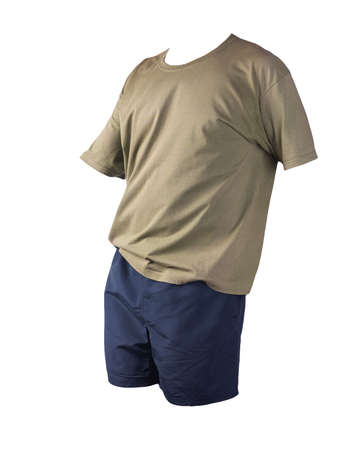 men's sports dark blue shorts and olive t-shirt isolated on white background.comfortable clothing for sports
