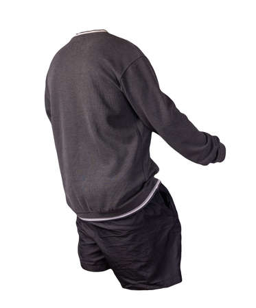 gray sweatshir and black sports shorts isolated on a white background. casual sportswear 版權商用圖片