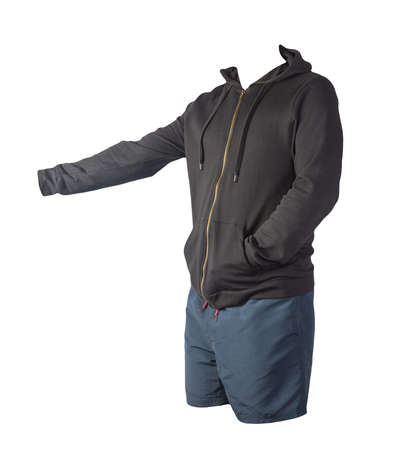 black sweatshirt with an iron zipper with a hood and dark blue sports shorts isolated on a white background. casual sportswear