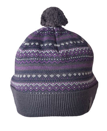 knitted gray purple white hat isolated on white background.hat with pompon. Stock Photo