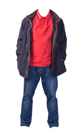 blue jacket, orange shirt and blue jeans isolated on white background. casual fashion clothes