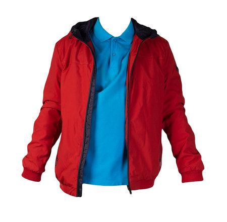 men's blue t-shirt and hakki jacket zipper isolated on white background.casual clothing