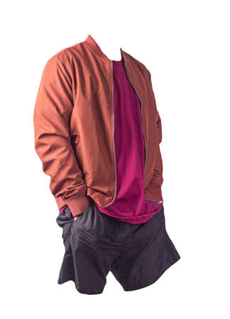 mens red bomber jacket, burgundy t-shirt and sports black shorts isolated on white background. fashionable casual wear