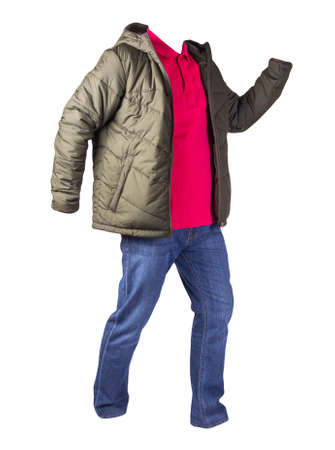 green jacket with zipper, red shirt and blue jeans isolated on white background. casual fashion clothes