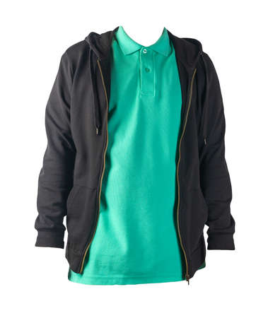 black sweatshirt with iron zipper hoodie and green t-shirt isolated on white background.sporty style Stock Photo