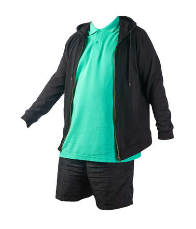black sweatshirt with iron zipper hoodie, green t-shirt and black sports shorts isolated on white background. casual sportswear