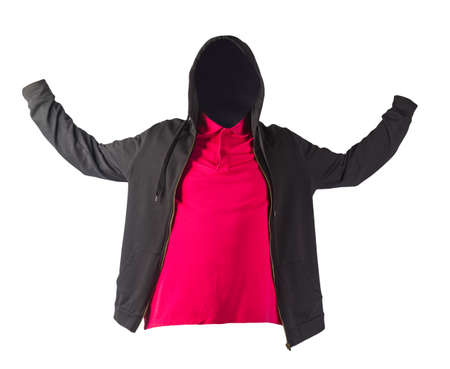black sweatshirt with iron zipper hoodie and red t-shirt isolated on white background.sporty style