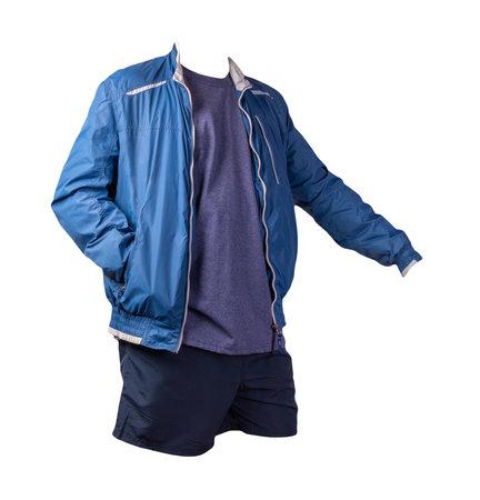 mens blue white windbreaker jacket, vintage heather navy t-shirt and dark blue sports shorts isolated on white background. fashionable casual wear