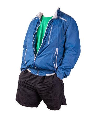 mens blue white windbreaker jacket, retro heather green t-shirt and black sports shorts isolated on white background. fashionable casual wear