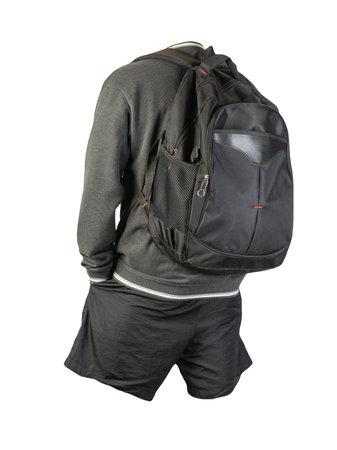 black backpack, gray white sweatshirt, black shorts isolated on white background. sportswear Stockfoto