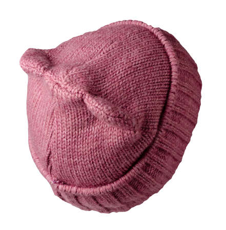 Women's pink hat. knitted hat isolated on white background.