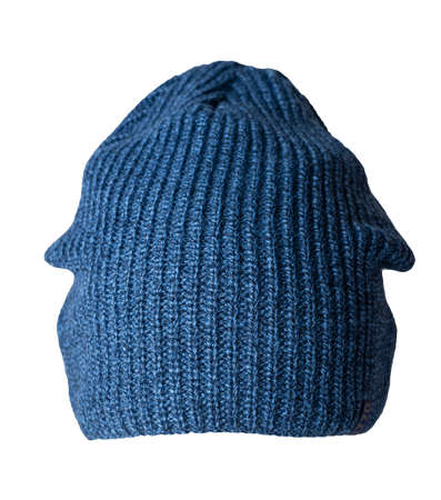 knitted blue hat isolated on a white background.fashion hat accessory for casual style