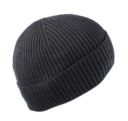 knitted black hat isolated on a white background.fashion hat accessory for casual style