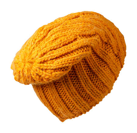 Women's yellow hat. knitted hat isolated on white background.