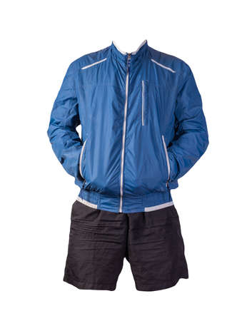 mens blue white jacket and black sports shorts isolated on white background. fashionable casual wear