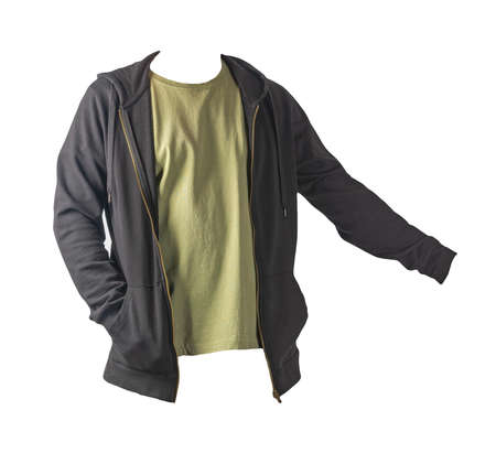 black sweatshirt with iron zipper with hoodie and olive t-shirt isolated on white background.sporty style