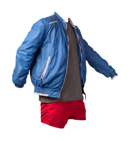 mens blue white windbreaker jacket, gray t-shirt and gray sports shorts isolated on white background. fashionable casual wear