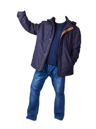 dark blue jacket with zipper, dark blue sweater and blue jeans isolated on white background. casual fashion clothes