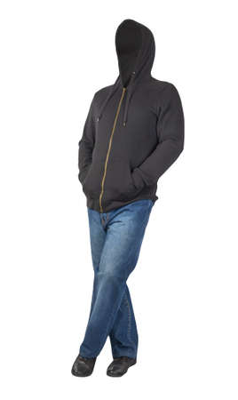 blue jeans, black sweatshirt with hood and black leather shoes isolated on white background casual clothes .muzhskaya