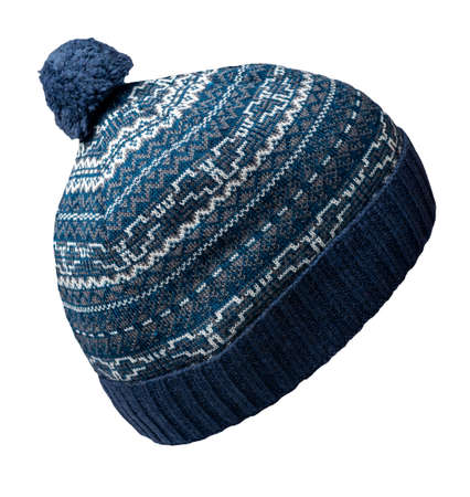 knitted dark blue gray white hat isolated on white background.hat with pompon. Stock Photo
