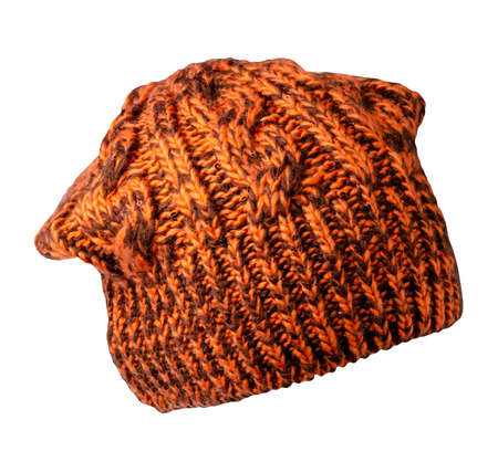 Women's brown orange hat. knitted hat isolated on white background. Stock Photo