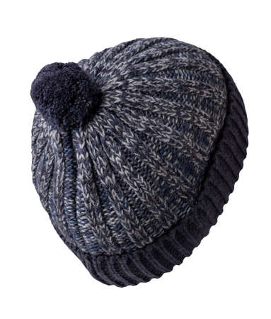 knitted dark blue gray hat isolated on white background.hat with pompon. Stock Photo